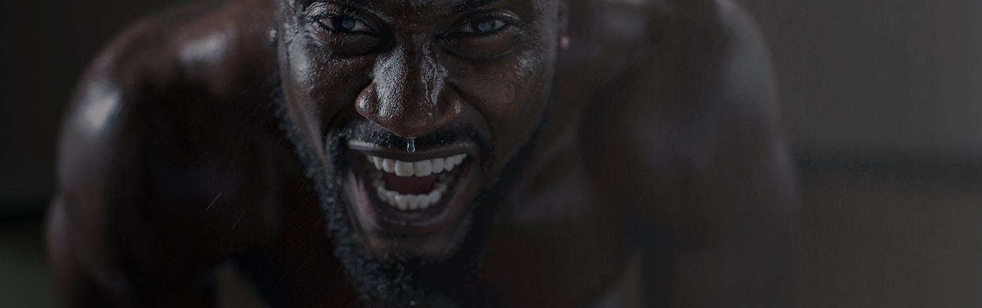Close up of a man sweating after exerting himself through exercise