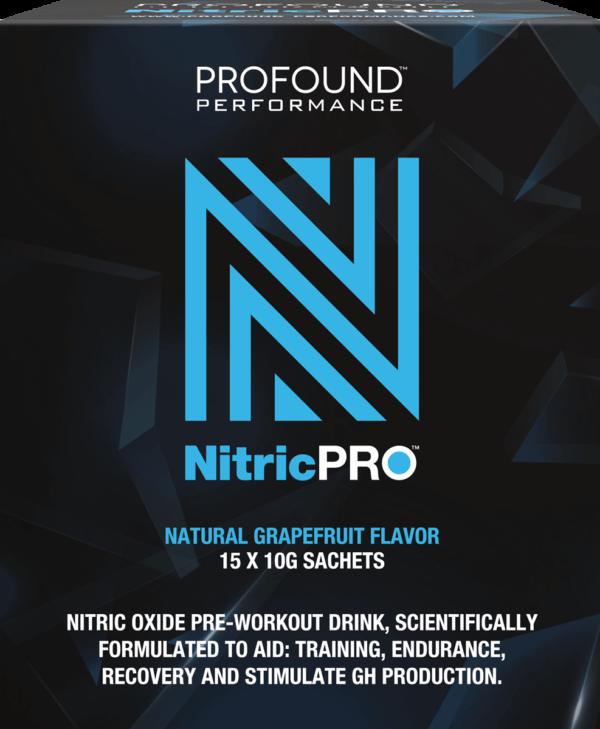 Nitric PRO blue logo on a dark blue geometric background
