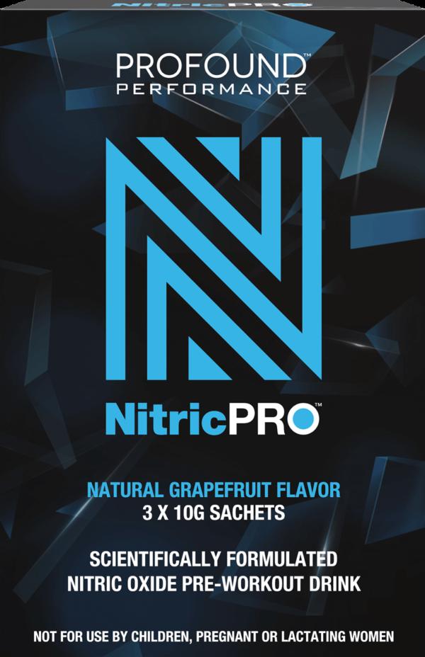 Blue Nitric PRO logo with dark blue geometric background